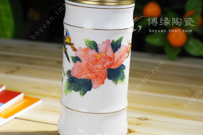 富贵满堂手绘玉瓷养生杯,礼品定做批发,保温杯,陶瓷